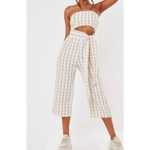 Missguided Gingham Tie Front Culotte Jumpsuit